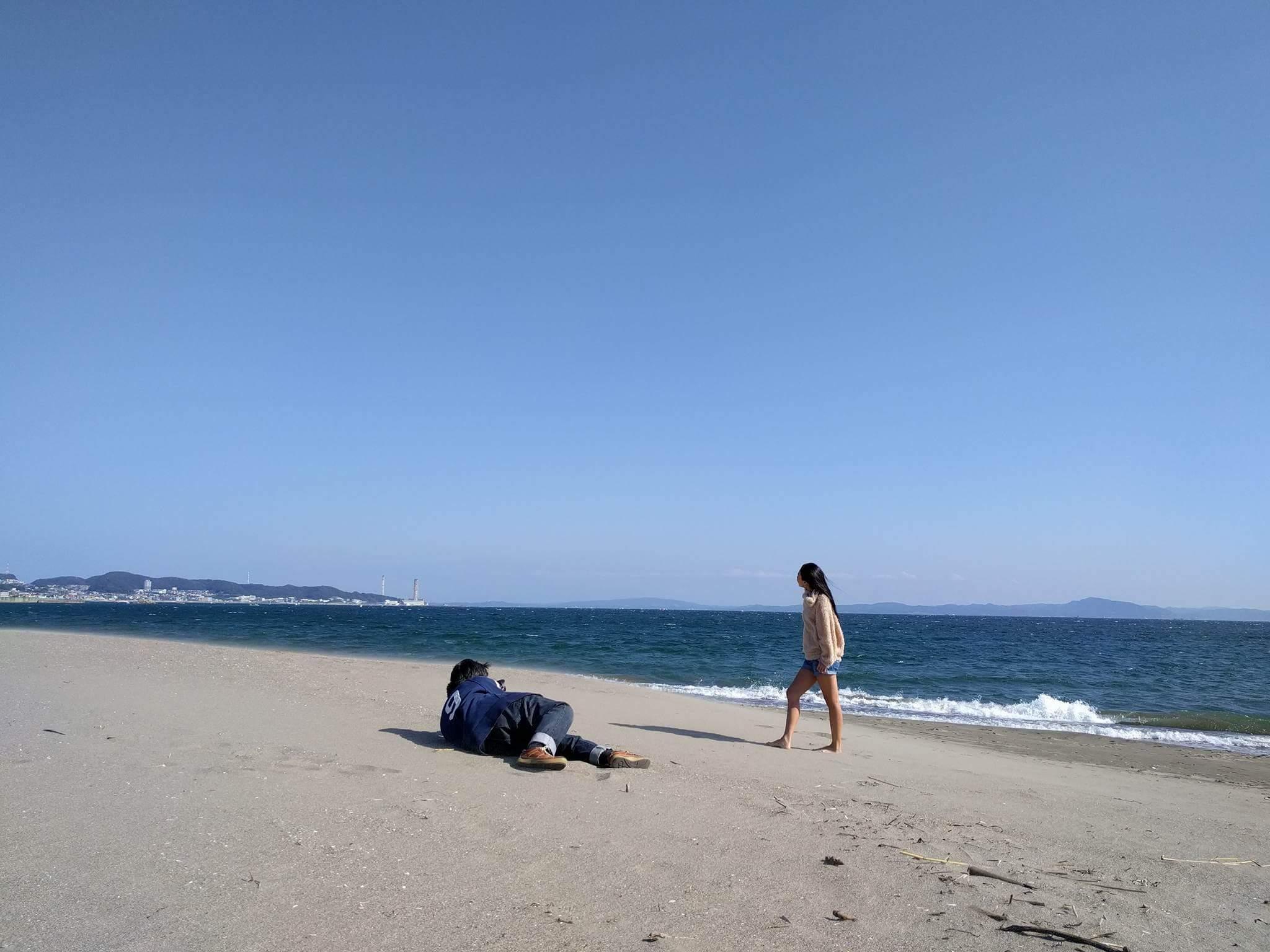 三浦海岸で、砂浜を裸足で楽しんだよぉ~⤴♪